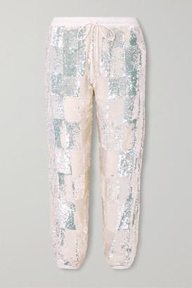 retrofete Stacia Sequined Chiffon Track Pants - White