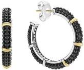 Lagos Black Caviar Ceramic 18K Gold and Sterling Silver 5 Station Hoop Earrings