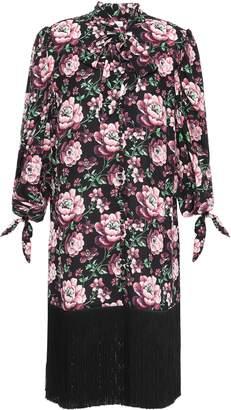 Magda Butrym Gaza Fringe-trimmed Floral-print Silk Crepe De Chine Dress
