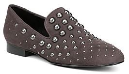 Donald J Pliner Women's Loyd Almond Toe Studded Suede Loafers