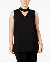 Alfani Plus Size Cutout Mock-Turtleneck Top, Only at Macy's