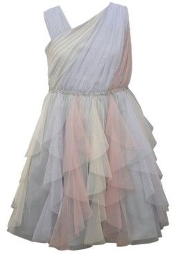 Bonnie Jean Little Girls Asymmetric Panel Mesh Cascade Dress
