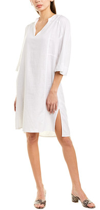 Vince Seamed Popover Linen-Blend Shift Dress
