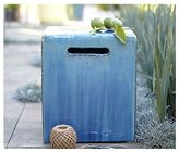 Crate & Barrel Carilo Blue Garden Stool