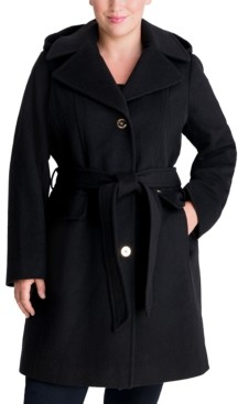 Michael Kors Michael Plus Size Belted Hooded Wrap Coat, Created for Macy's