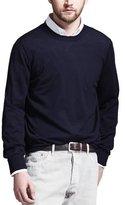 Brunello Cucinelli Fine-Gauge Knit Elbow-Patch Sweater, Navy