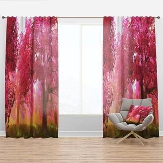 Design Art Designart 'Mysterious Red Cherry Blossoms' Landscape Curtain Panel
