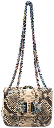 Christian Louboutin Beige Python and Leather Baby Crystal Sweet Charity Shoulder Bag