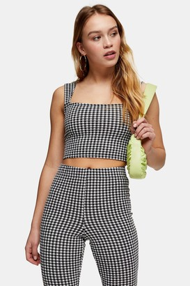 Topshop PETITE Black and White Stretch Gingham Crop Top