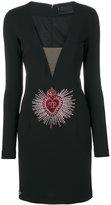Philipp Plein embellished logo plunge dress - women - Polyamide/Spandex/Elastane/Viscose - S