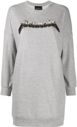 John Richmond Long Embellished-Logo Sweatshirt