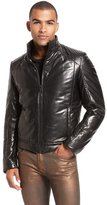 HUGO BOSS 'Lenardt' | Stand Collar Leather Jacket by HUGO