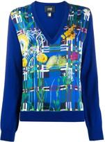 Class Roberto Cavalli floral print V-neck jumper