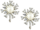 Carolee Silver-Tone Crystal and Imitation Pearl Clip-On Stud Earrings