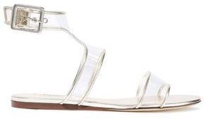 Valentino Metallic Leather-trimmed Pvc Sandals