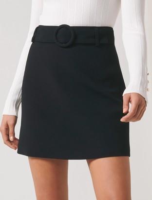 Forever New Anabelle Belted Crepe Mini Skirt - Black - 4
