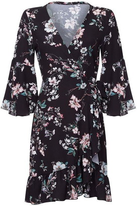 Yumi Floral Print Knee Length Wrap Dress