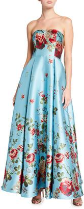 Mestiza New York Celestina Floral Print Strapless Gown