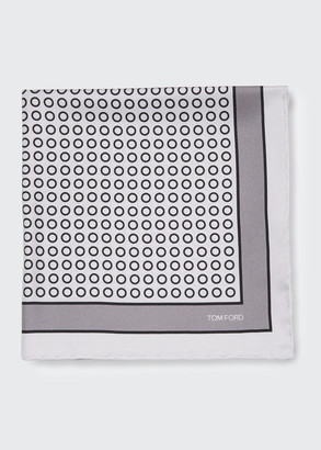 Tom Ford Men's Small Dot Silk Pocket Square
