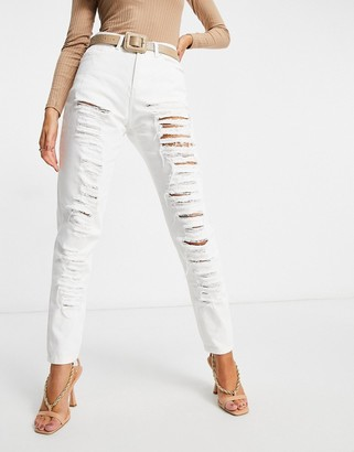 NaaNaa high waist ripped mom jeans in white