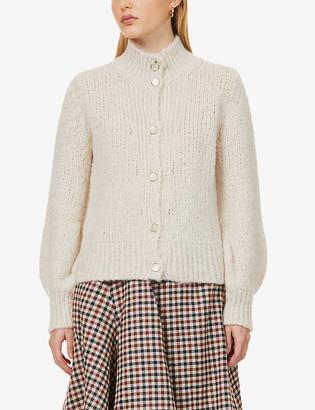 Sessun Funnel-neck wool-blend cardigan