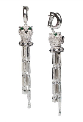 Cz By Kenneth Jay Lane Rhodium Plated Panther Head Pave Tassel Earrings
