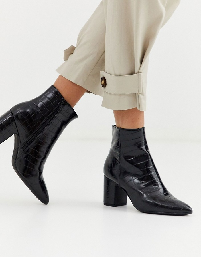 New Look croc leather look boot in black