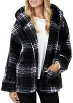 Kensie Long Sleeve Hooded Plaid Jacket