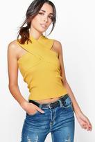 Boohoo Aimee Sleeveless Wrap Front Rib Knit Jumper