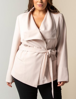 Forever New Amanda Curve Waterfall Jacket - Nude Shimmer - 16
