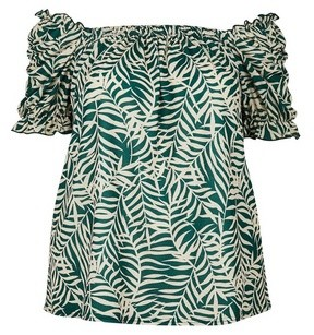 Dorothy Perkins Womens **Dp Curve Green Palm Print Bardot Top, Green
