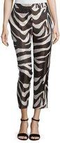 Escada Mid-Rise Zebra-Print Cropped Pants, Mocca