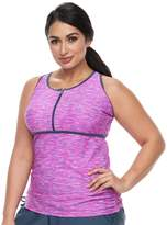 Free Country Plus Size Bust Enhancer Racerback Tankini Top
