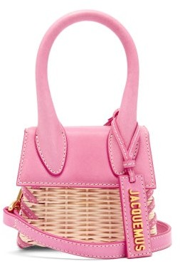 Jacquemus Le Chiquito Leather And Wicker Cross-body Bag - Pink Multi
