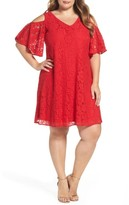 Gabby Skye Plus Size Women's Cold Shoulder Lace Trapeze Dress
