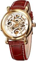 K&S KS Elegant Skeleton Dial Automatic Mechanical Brown Leather Men's Wrist Watch KS105