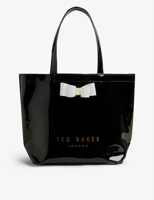 Ted Baker Haricon icon bow-trimmed small vinyl tote bag