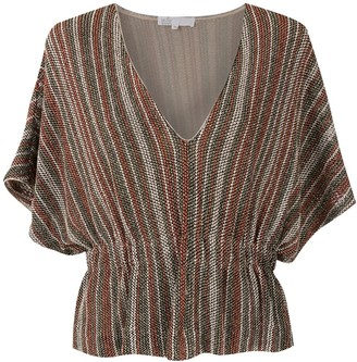 Nk Wide Sleeves Jacquard Blouse