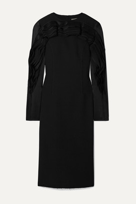 Jason Wu Collection Ruffled Satin And Chiffon-trimmed Crepe Dress - Black