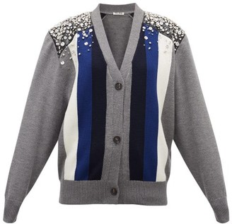 Miu Miu Crystal-embellished Striped Wool Cardigan - Grey Multi