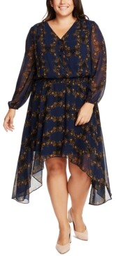1 STATE Trendy Plus Size Smocked-Waist Dress