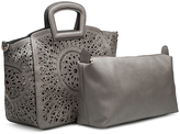 Melie Bianco Gray Nancy Laser Cut Out Tote & Removable Pouch