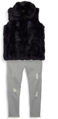 Surell Girl's Rabbit Fur Vest