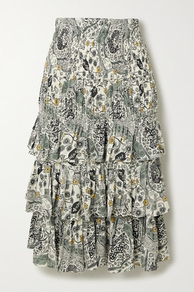 Etoile Isabel Marant Cencia Shirred Tiered Floral-print Crepe Midi Skirt - Ecru