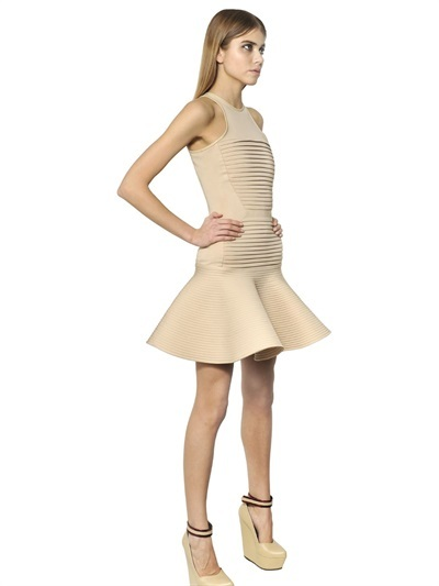 David Koma Pleated Viscose Double Jersey Dress