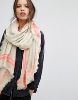 Pieces Lightweight Woven Scarf with Neon Trim