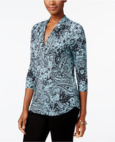 Charter Club Petite Paisley-Print Pleated Top, Only at Macy's