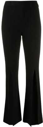 BEVZA Front Slit Flared Knitted Trousers