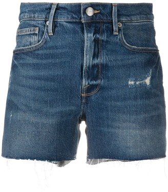 Frame Frayed Hem Denim Shorts