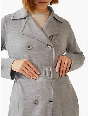 Jigsaw Knitted Trench Coat, Mid Grey